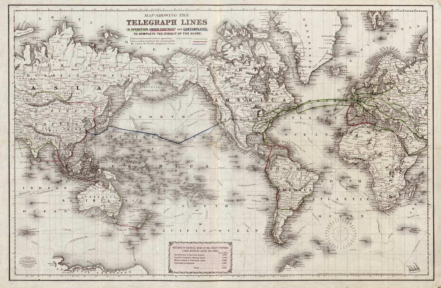 Bubnickcom Historic Undersea Cable Maps - Old world map black and white